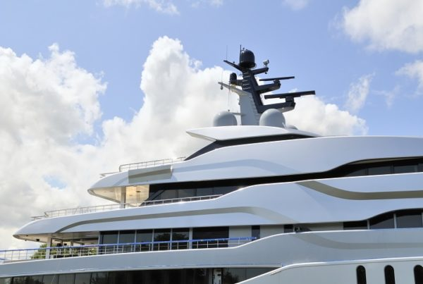 Detail on a huge yacht with multiple decks.